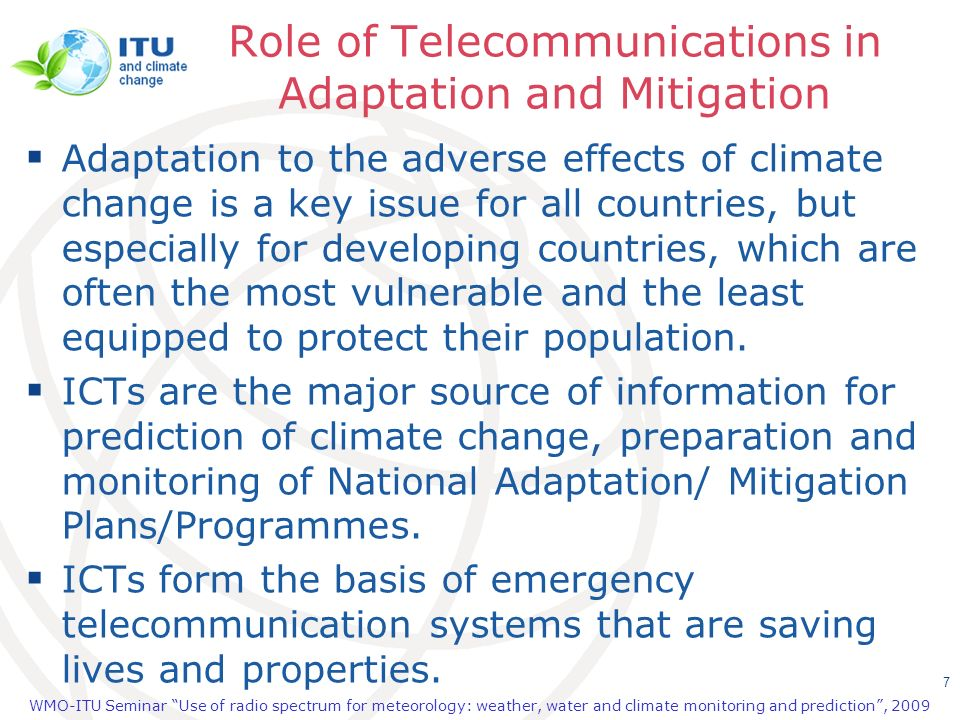 Role of Telecommunications in Adaptation and Mitigation