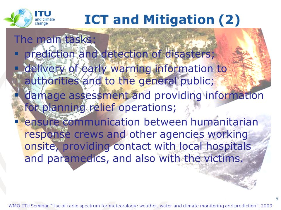 ICT and Mitigation (2) The main tasks: