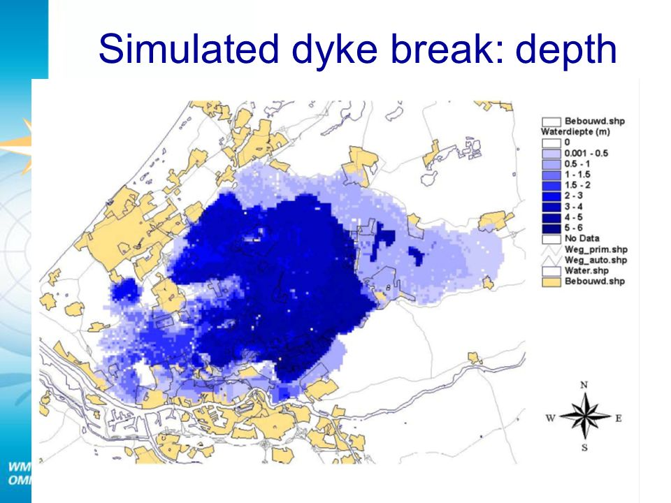 Simulated dyke break: depth