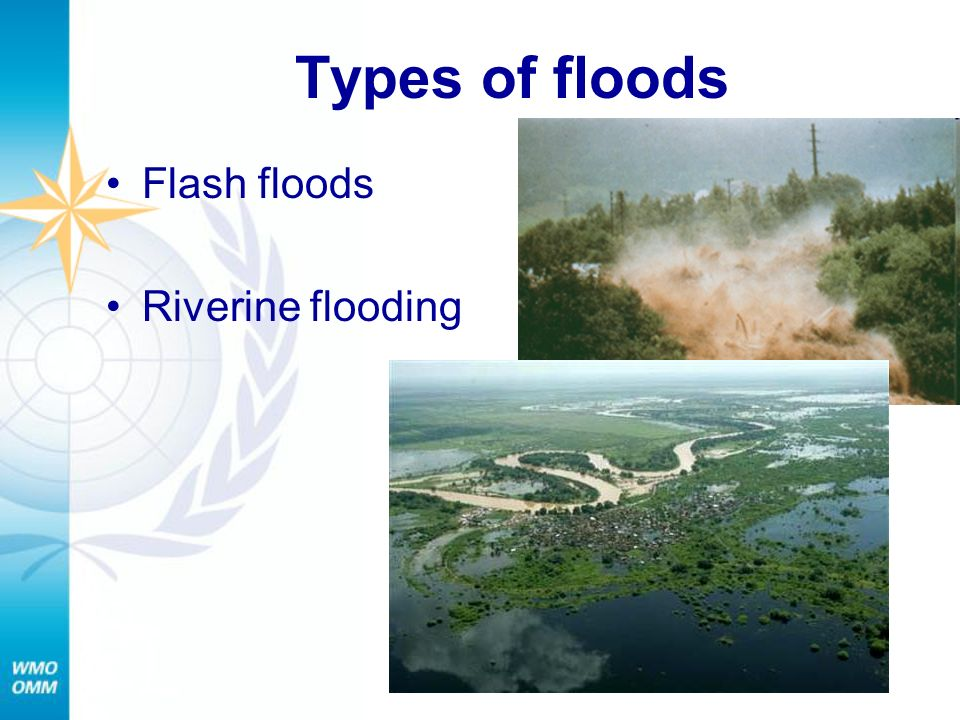 Types of floods Flash floods Riverine flooding