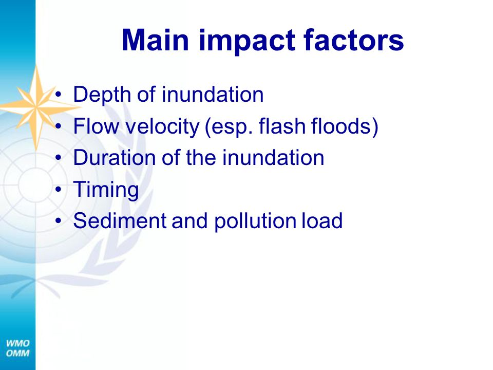 Main impact factors Depth of inundation