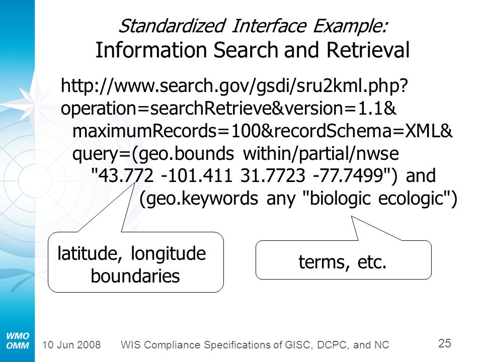 Standardized Interface Example: Information Search and Retrieval