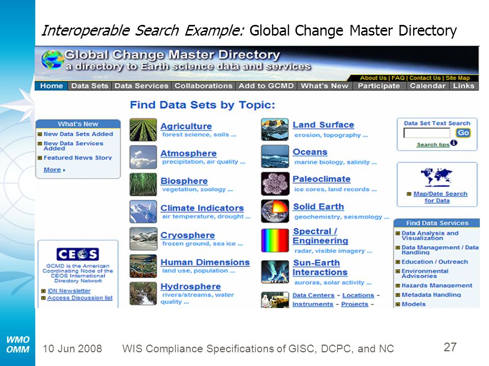 Interoperable Search Example: Global Change Master Directory