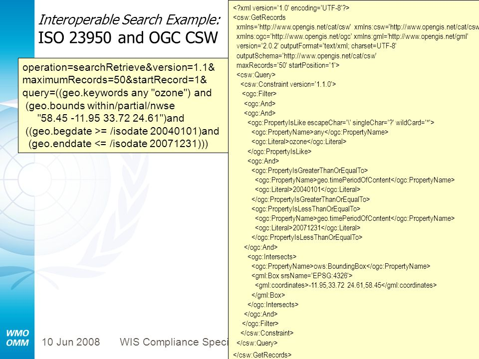Interoperable Search Example: ISO 23950 and OGC CSW