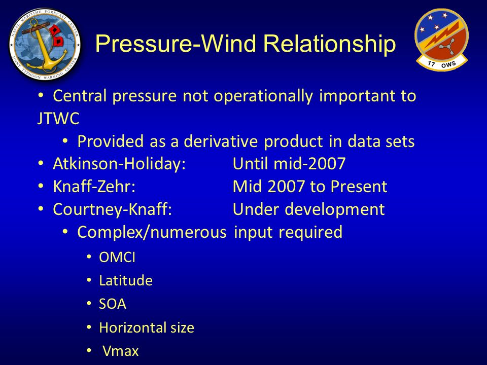 Pressure-Wind Relationship