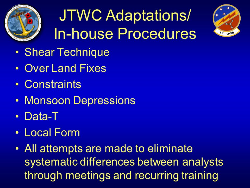 JTWC Adaptations/ In-house Procedures