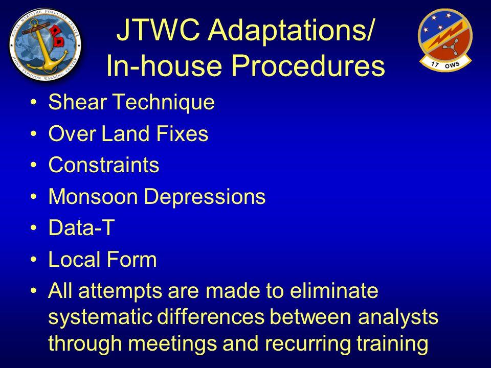 JTWC Adaptations/ In-house Procedures