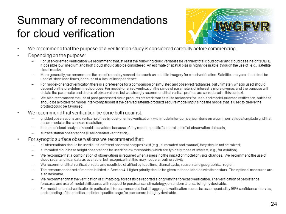 Summary of recommendations for cloud verification