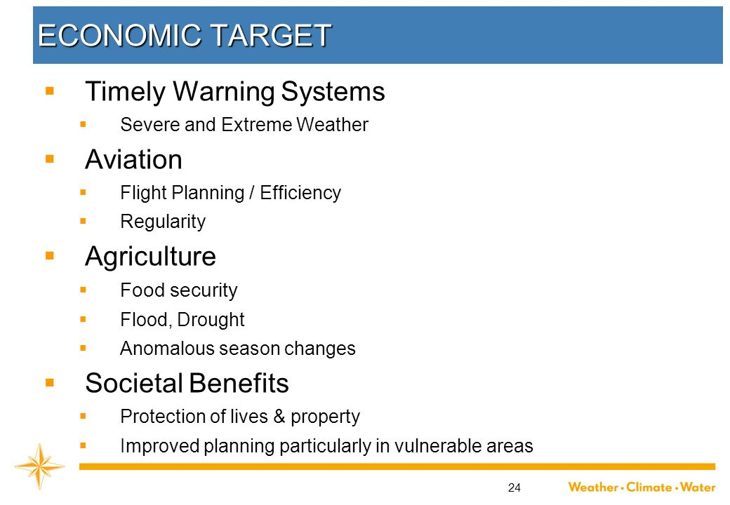 ECONOMIC TARGET Timely Warning Systems Aviation Agriculture