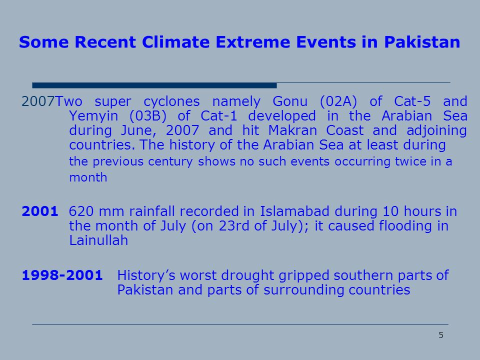Some Recent Climate Extreme Events in Pakistan