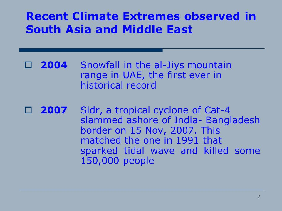 Recent Climate Extremes observed in South Asia and Middle East