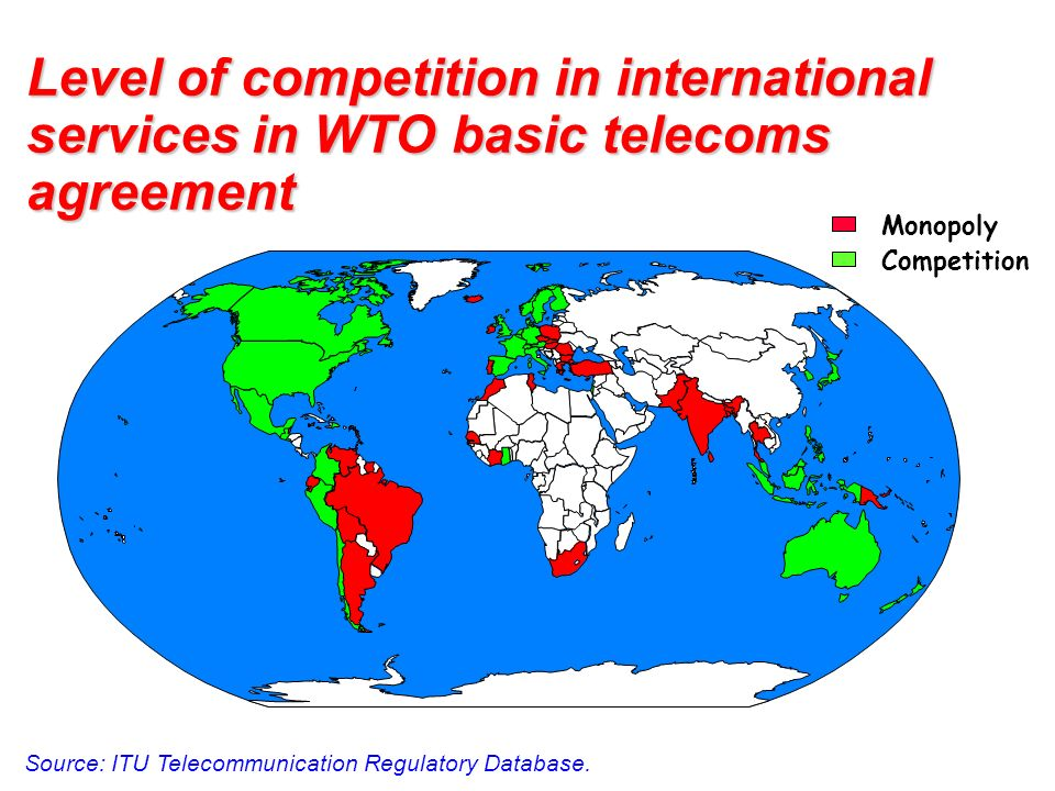 Level of competition in international services in WTO basic telecoms agreement