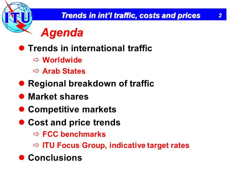 Agenda Trends in international traffic Regional breakdown of traffic