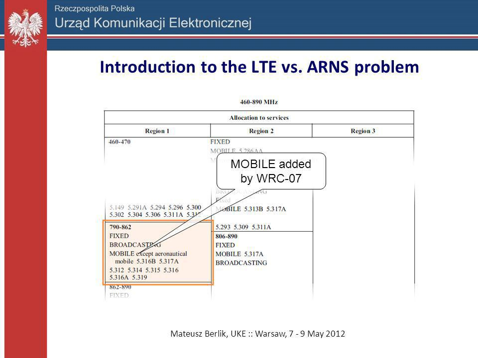 Introduction to the LTE vs. ARNS problem