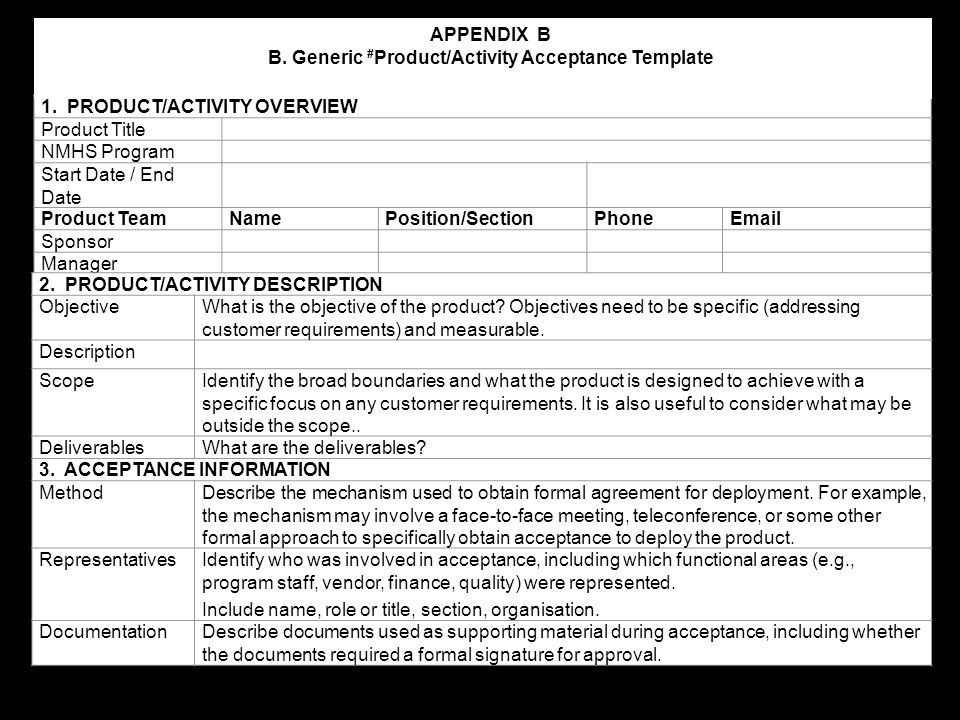 B. Generic #Product/Activity Acceptance Template