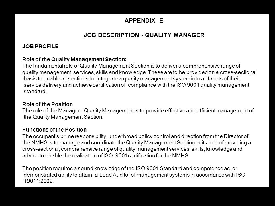 JOB DESCRIPTION - QUALITY MANAGER