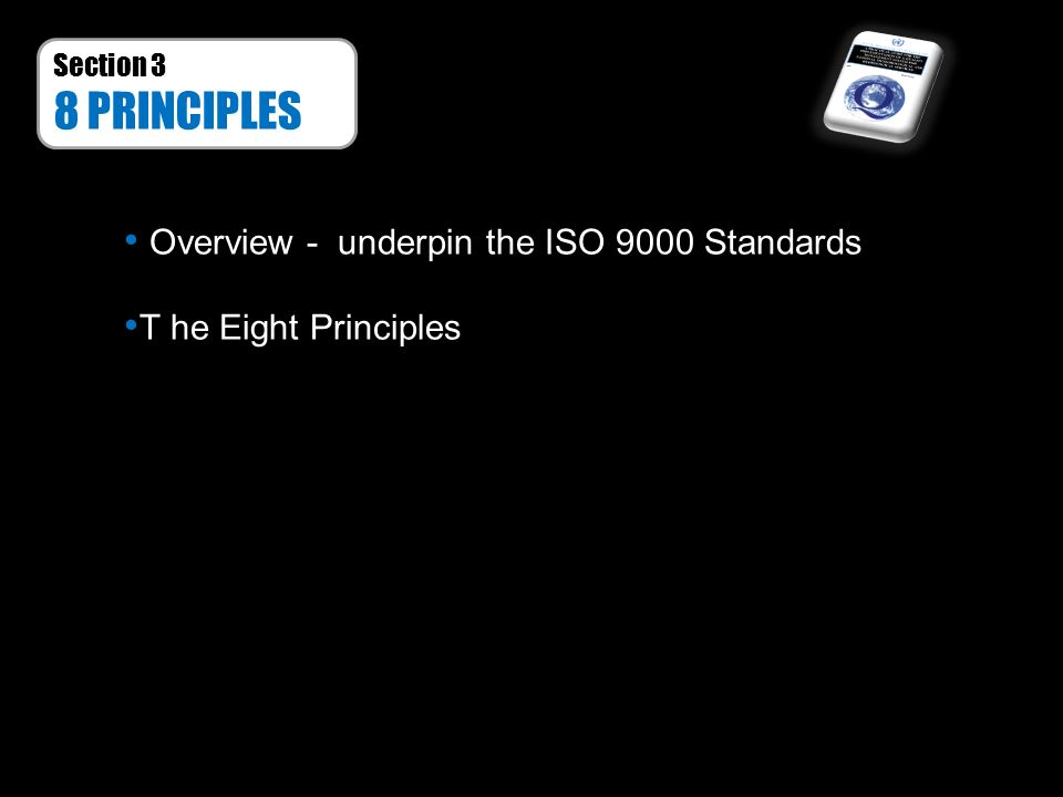 8 PRINCIPLES Overview - underpin the ISO 9000 Standards