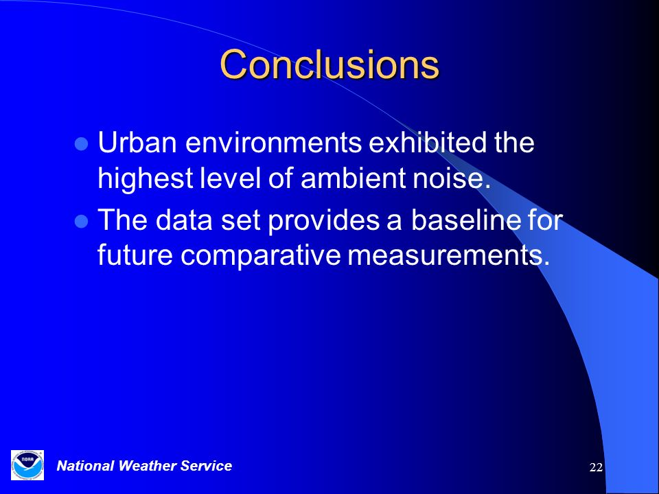 Conclusions Urban environments exhibited the highest level of ambient noise. The data set provides a baseline for future comparative measurements.
