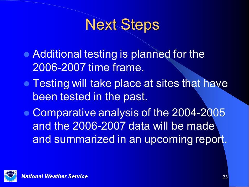 Next Steps Additional testing is planned for the time frame.