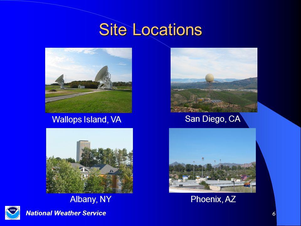 Site Locations Wallops Island, VA San Diego, CA Albany, NY Phoenix, AZ