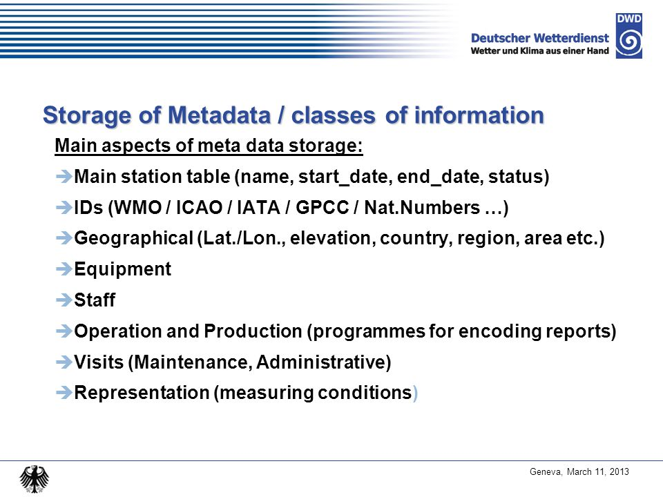 Storage of Metadata / classes of information