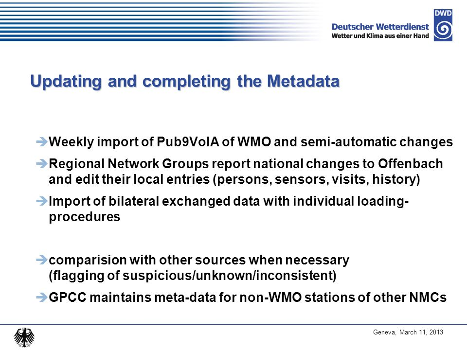 Updating and completing the Metadata