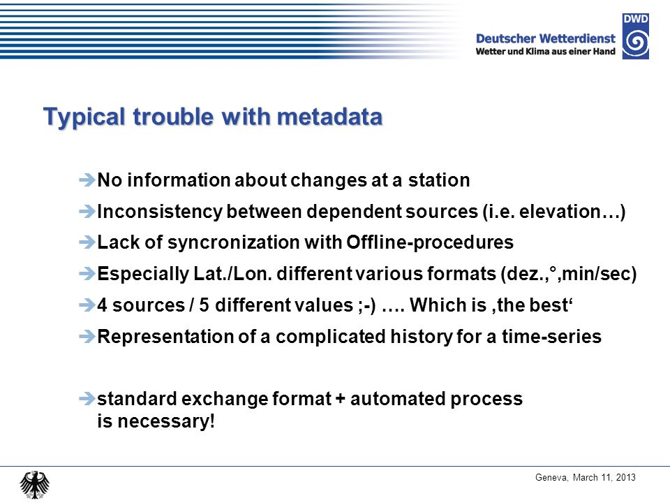 Typical trouble with metadata
