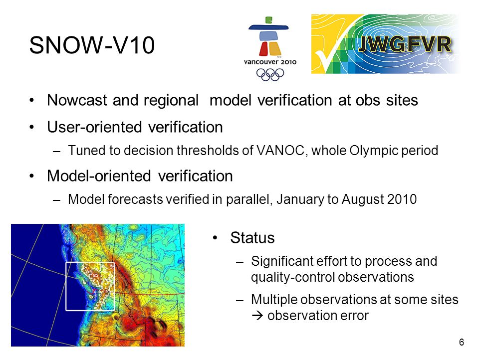 SNOW-V10 Nowcast and regional model verification at obs sites