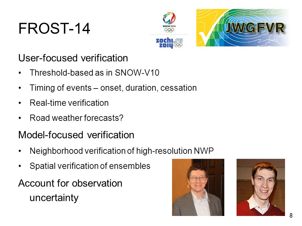FROST-14 User-focused verification Model-focused verification