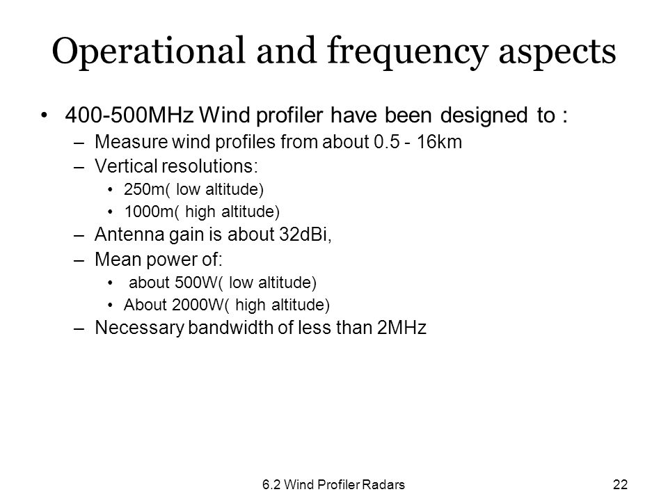 Operational and frequency aspects