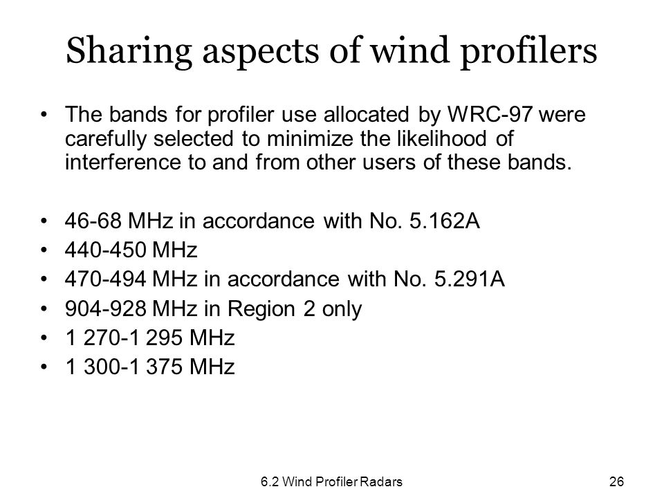 Sharing aspects of wind profilers