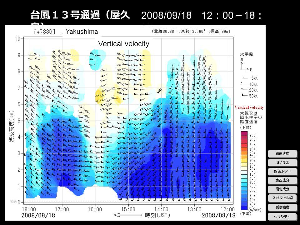 台風13号通過(屋久島) 2008/09/18 12:00-18:00 Vertical velocity Yakushima