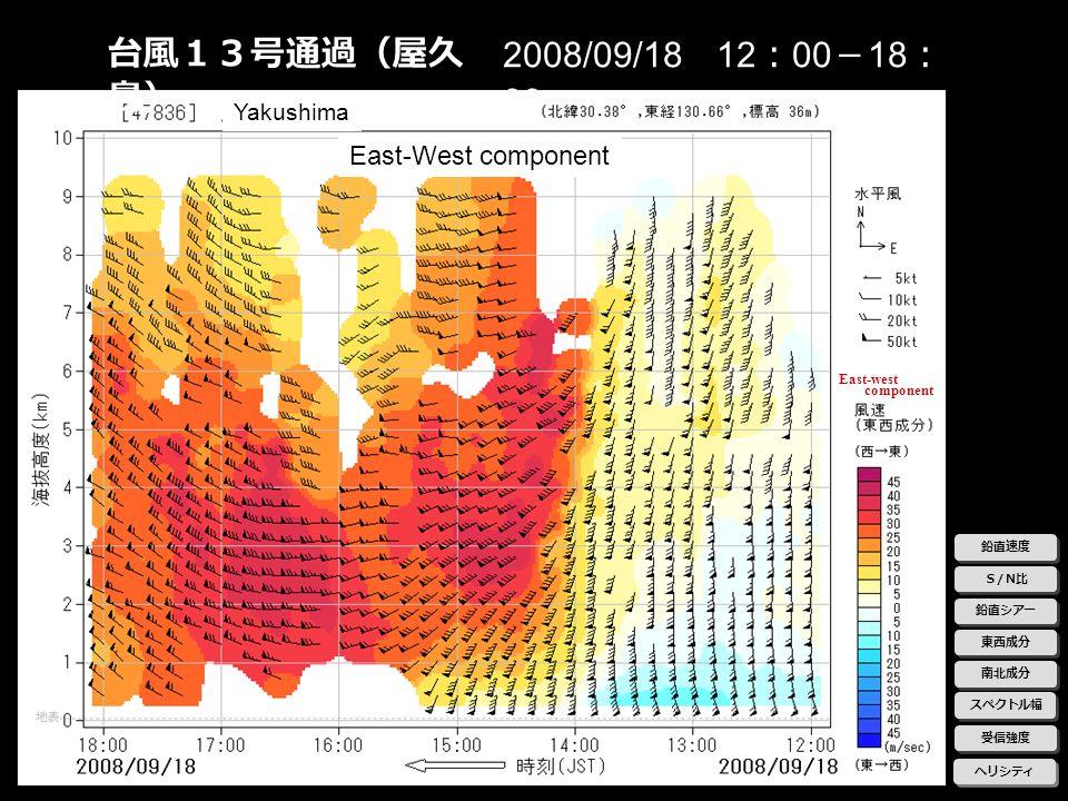 台風13号通過(屋久島) 2008/09/18 12:00-18:00 East-West component Yakushima