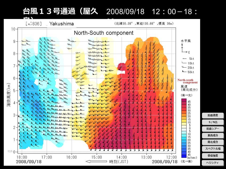 台風13号通過(屋久島) 2008/09/18 12:00-18:00 North-South component Yakushima