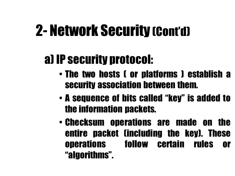 2- Network Security (Cont'd)