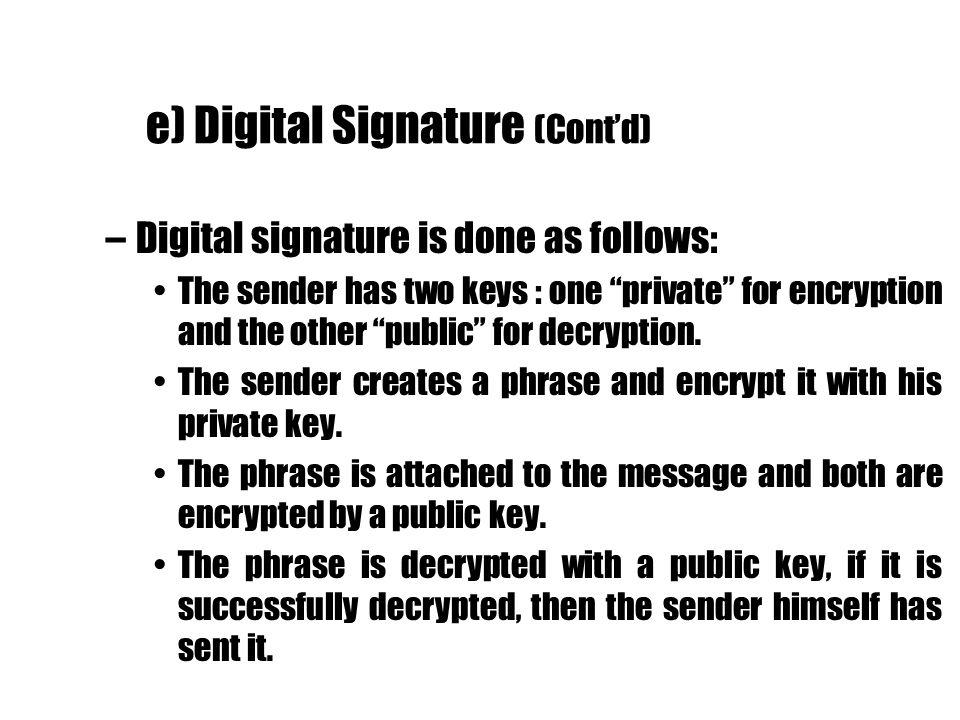e) Digital Signature (Cont'd)