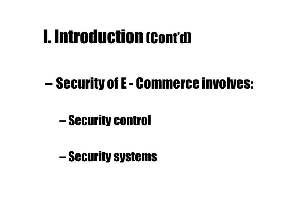I. Introduction (Cont'd)