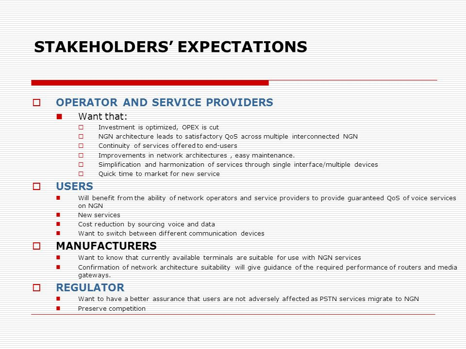 STAKEHOLDERS' EXPECTATIONS