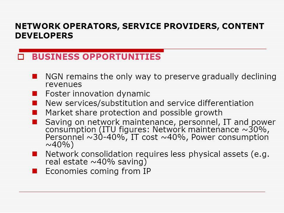 NETWORK OPERATORS, SERVICE PROVIDERS, CONTENT DEVELOPERS