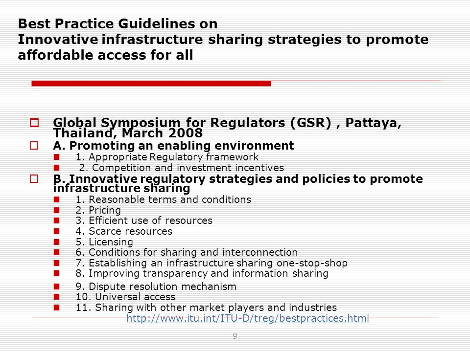 Best Practice Guidelines on Innovative infrastructure sharing strategies to promote affordable access for all