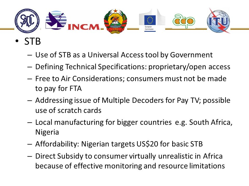 STB Use of STB as a Universal Access tool by Government