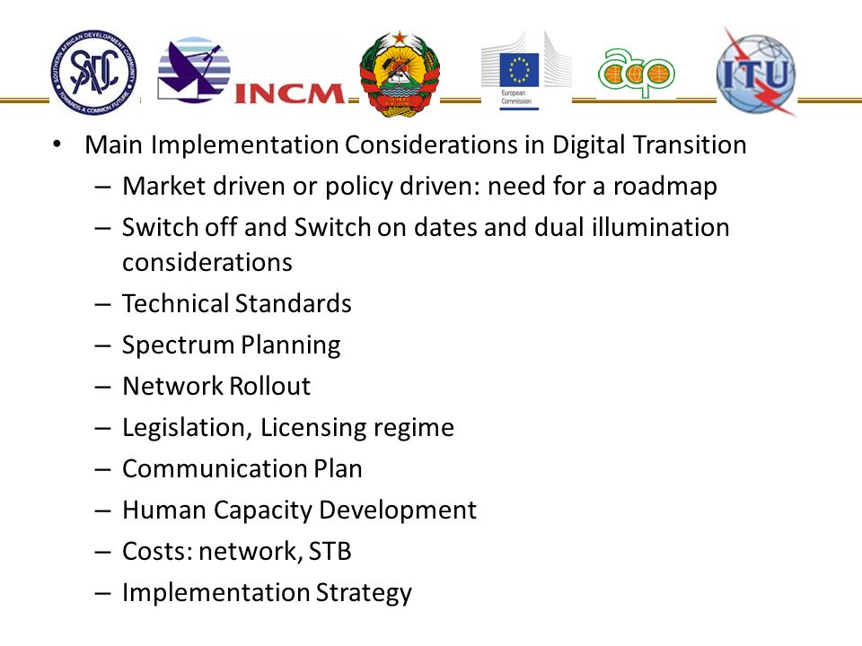 Main Implementation Considerations in Digital Transition