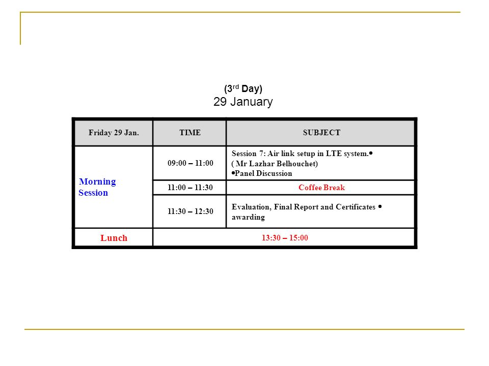 29 January Morning Session (3rd Day) Lunch SUBJECT TIME Friday 29 Jan.