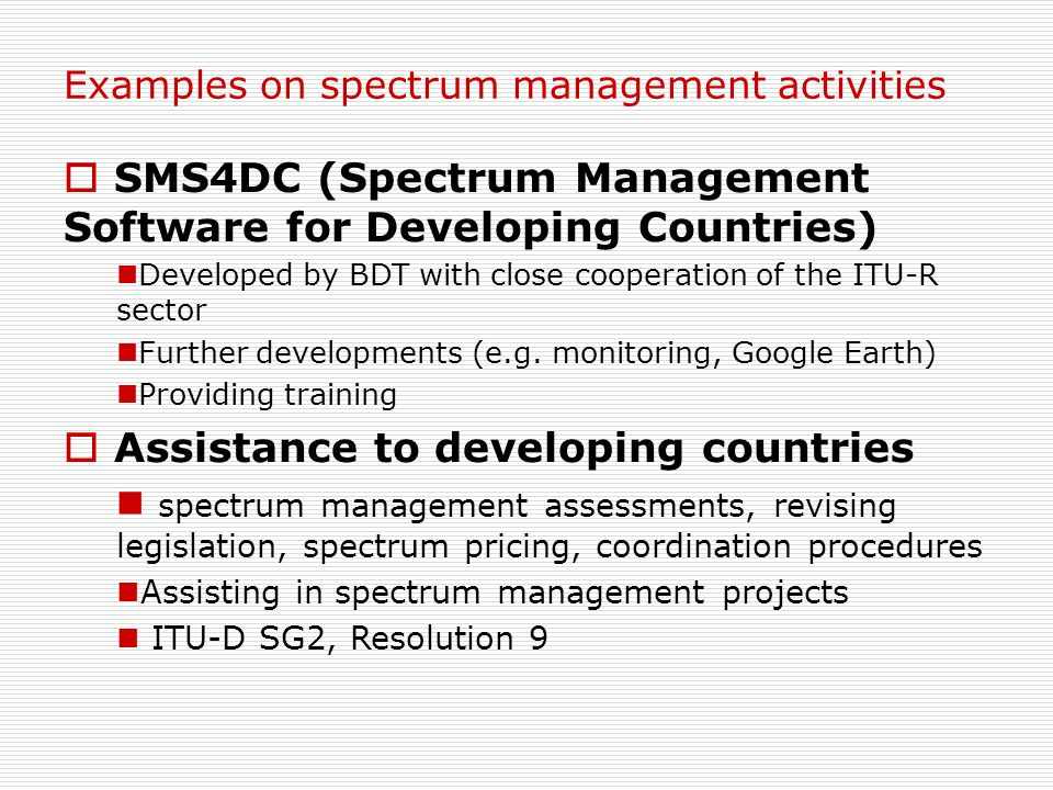 SMS4DC (Spectrum Management Software for Developing Countries)