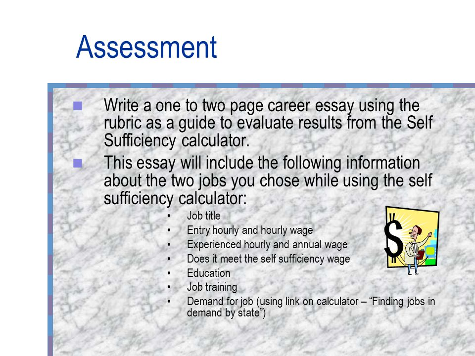 the self sufficiency standard for mississippi ppt video online  assessment write a one to two page career essay using the rubric as a guide to