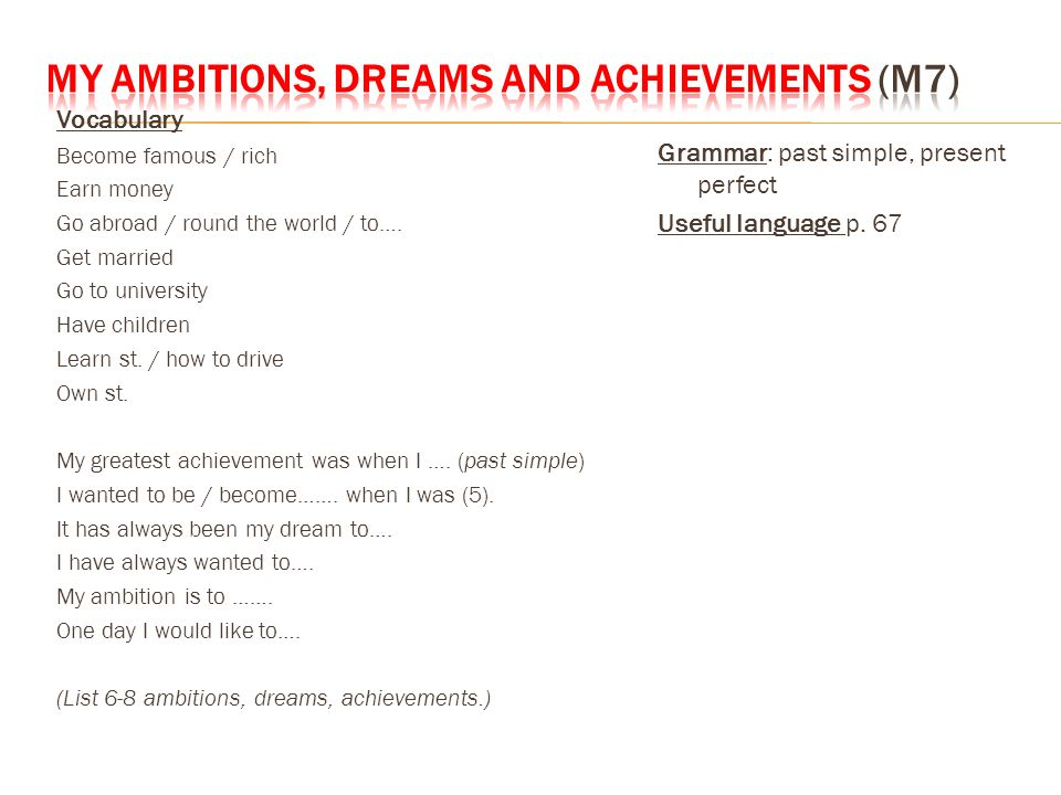 topics and information on oral exam ppt video online  3 my ambitions