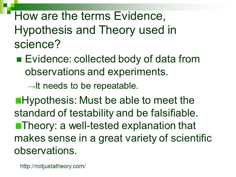 How are the terms Evidence, Hypothesis and Theory used in science