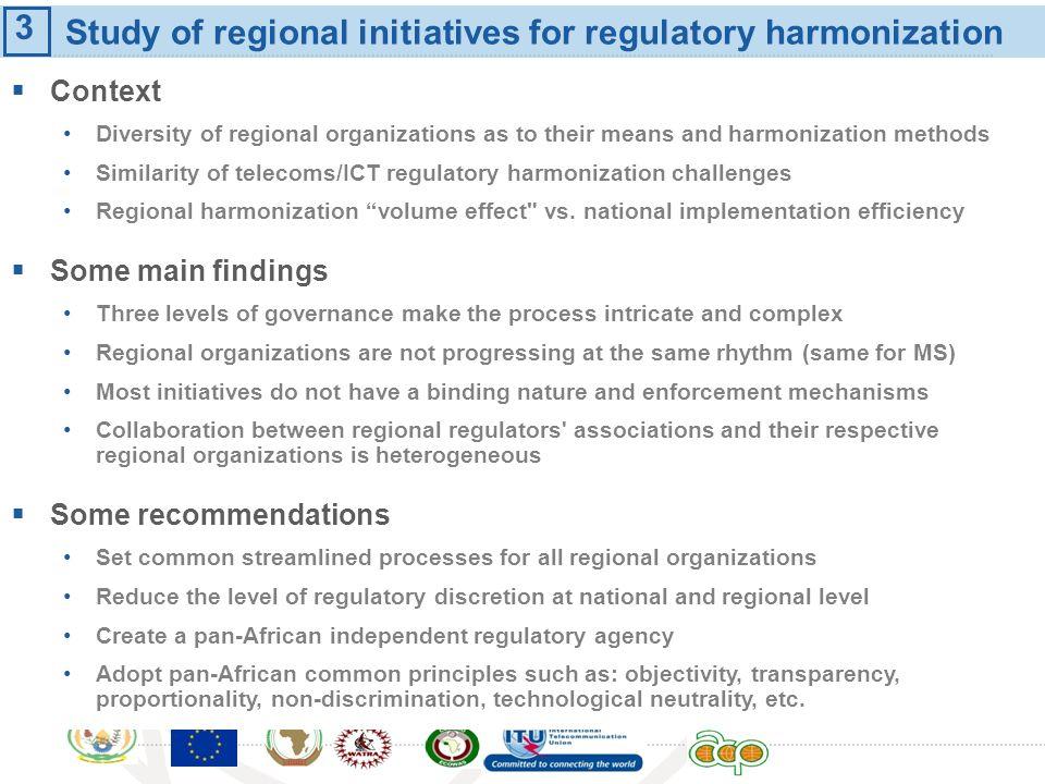 Study of regional initiatives for regulatory harmonization