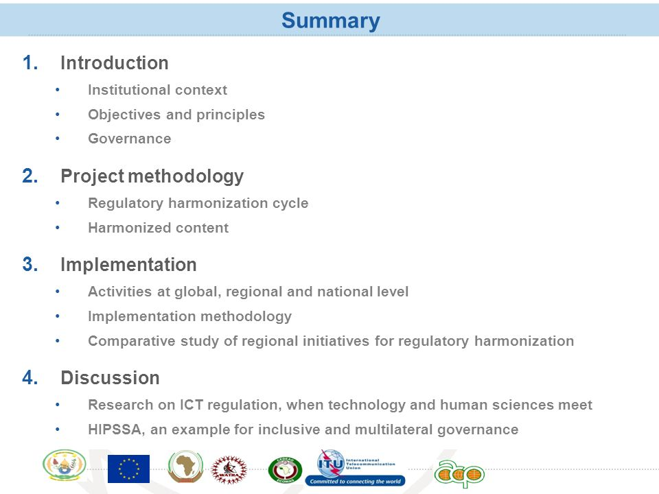 Summary Introduction Project methodology Implementation Discussion