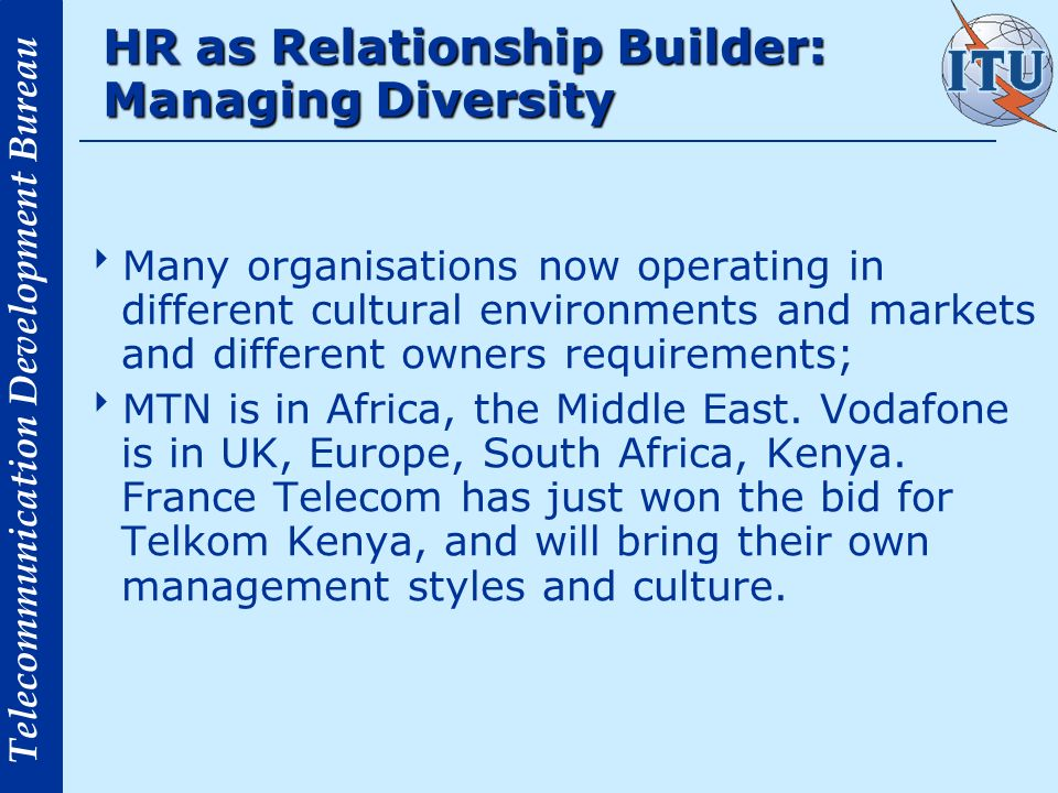 HR as Relationship Builder: Managing Diversity